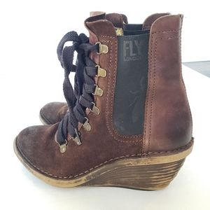 Fly London Suzu Suede Lace Up Wedge Patrol Boots